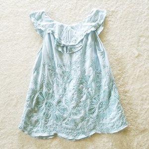 Anthropologie Tops - Anthropologie Meadow Rue Blue Embroidered Blouse